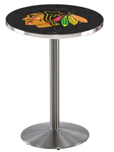 Chicago Blackhawks Stainless Steel Bar Table with Round Base