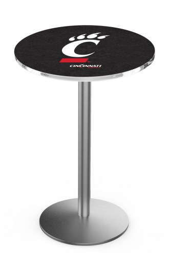 Cincinnati Bearcats Stainless Steel Bar Table with Round Base