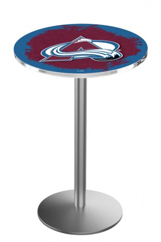 Colorado Avalanche Stainless Steel Bar Table with Round Base