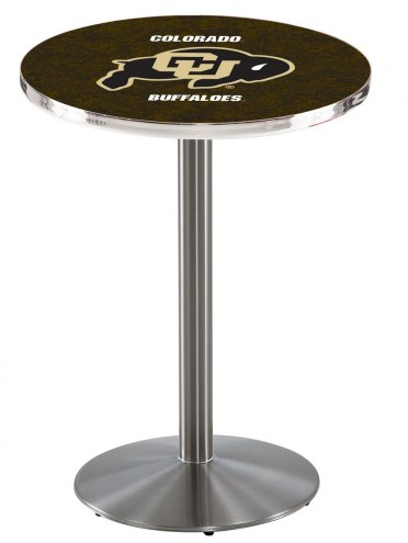 Colorado Buffaloes Stainless Steel Bar Table with Round Base