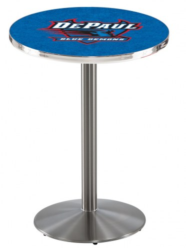 DePaul Blue Demons Stainless Steel Bar Table with Round Base
