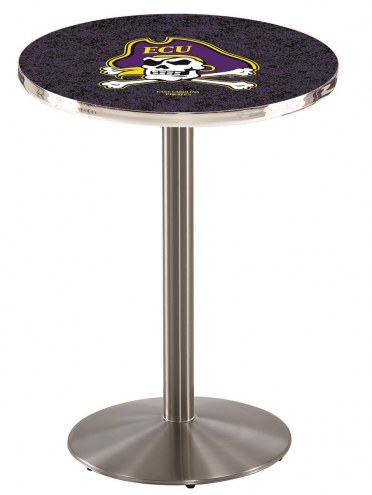 East Carolina Pirates Stainless Steel Bar Table with Round Base