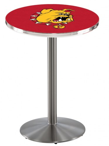 Ferris State Bulldogs Stainless Steel Bar Table with Round Base