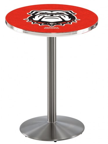 Georgia Bulldogs Stainless Steel Bar Table with Round Base