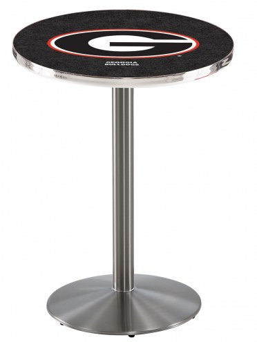 """Georgia Bulldogs """"G"""" Stainless Steel Bar Table with Round Base"""