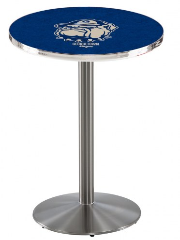 Georgetown Hoyas Stainless Steel Bar Table with Round Base