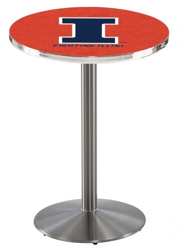 Illinois Fighting Illini Stainless Steel Bar Table with Round Base