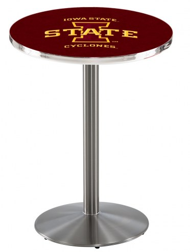 Iowa State Cyclones Stainless Steel Bar Table with Round Base