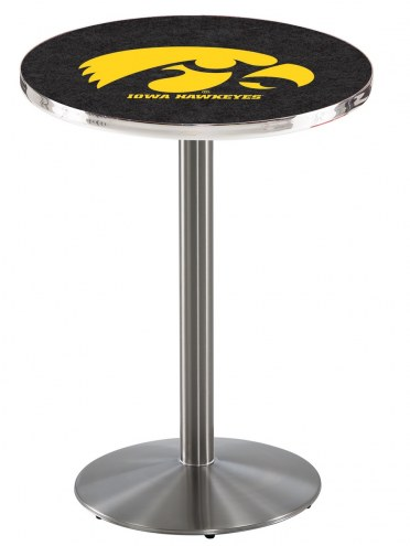 Iowa Hawkeyes Stainless Steel Bar Table with Round Base
