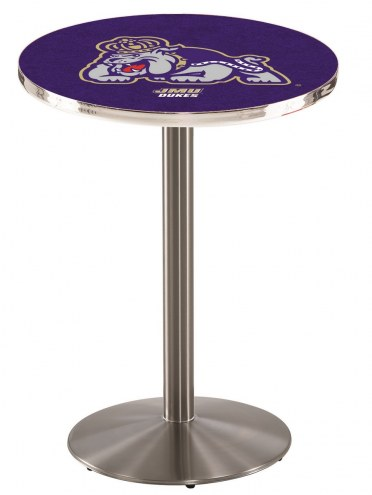 James Madison Dukes Stainless Steel Bar Table with Round Base
