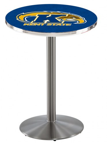 Kent State Golden Flashes Stainless Steel Bar Table with Round Base