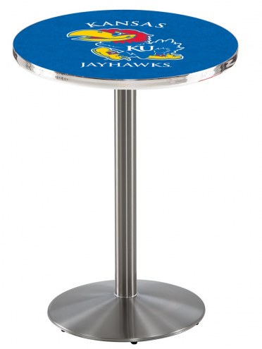 Kansas Jayhawks Stainless Steel Bar Table with Round Base