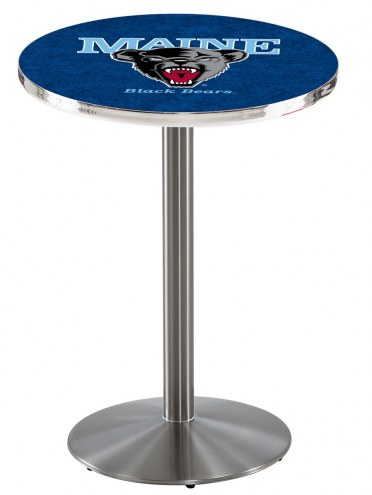 Maine Black Bears Stainless Steel Bar Table with Round Base