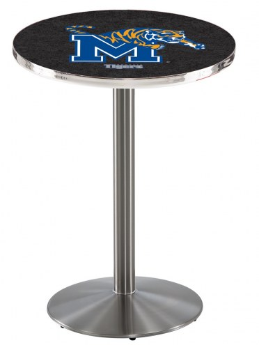 Memphis Tigers Stainless Steel Bar Table with Round Base