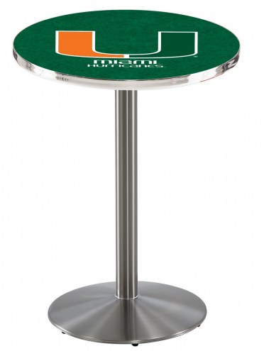 Miami Hurricanes Stainless Steel Bar Table with Round Base