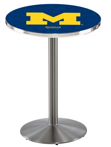 Michigan Wolverines Stainless Steel Bar Table with Round Base