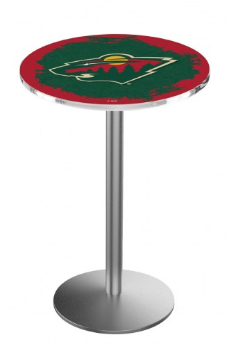 Minnesota Wild Stainless Steel Bar Table with Round Base