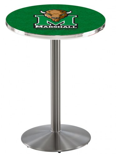 Marshall Thundering Herd Stainless Steel Bar Table with Round Base