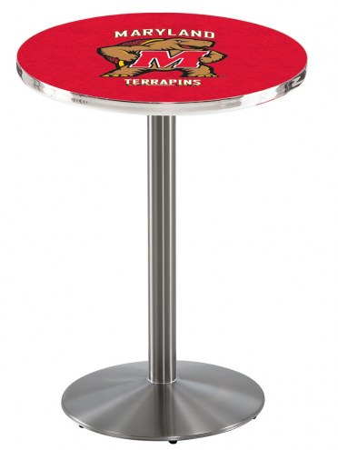 Maryland Terrapins Stainless Steel Bar Table with Round Base
