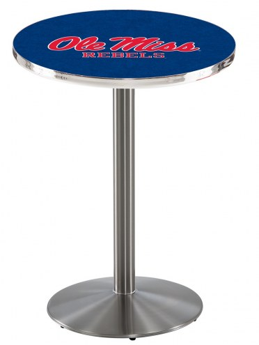 Mississippi Rebels Stainless Steel Bar Table with Round Base
