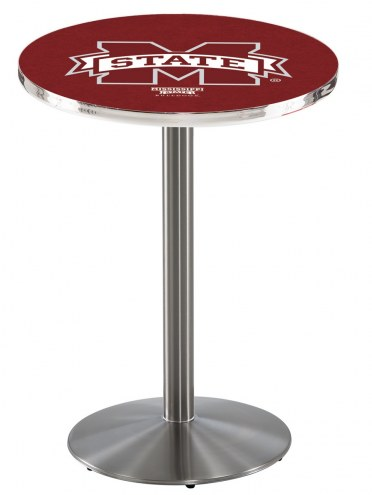 Mississippi State Bulldogs Stainless Steel Bar Table with Round Base