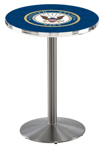 U.S. Navy Midshipmen Stainless Steel Bar Table with Round Base