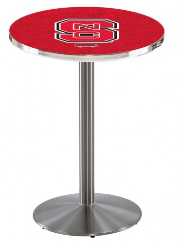 North Carolina State Wolfpack Stainless Steel Bar Table with Round Base