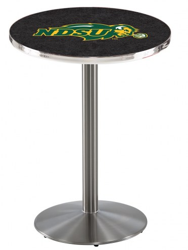 North Dakota State Bison NCAA Stainless Steel Bar Table with Round Base