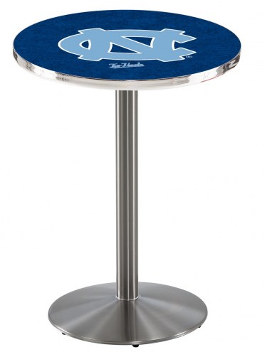 North Carolina Tar Heels Stainless Steel Bar Table with Round Base