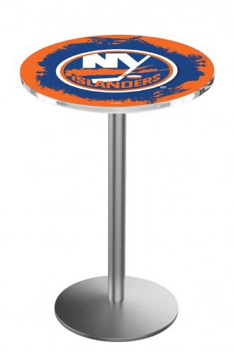 New York Islanders Stainless Steel Bar Table with Round Base