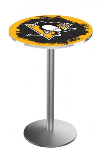 Pittsburgh Penguins Stainless Steel Bar Table with Round Base
