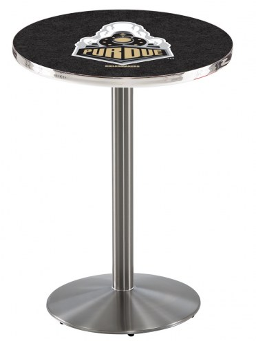 Purdue Boilermakers Stainless Steel Bar Table with Round Base
