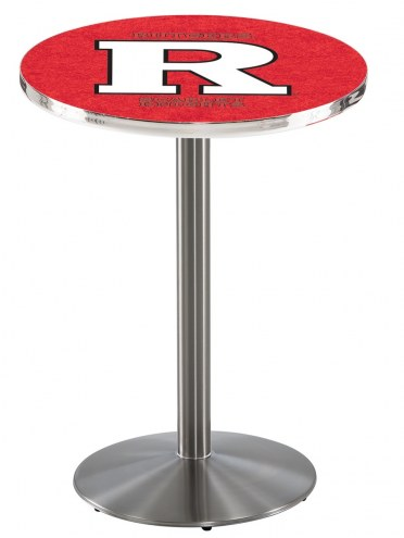 Rutgers Scarlet Knights Stainless Steel Bar Table with Round Base
