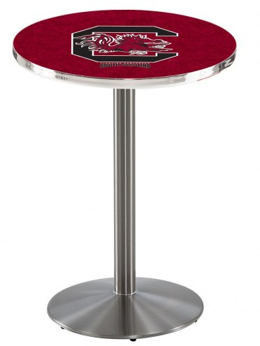 South Carolina Gamecocks Stainless Steel Bar Table with Round Base