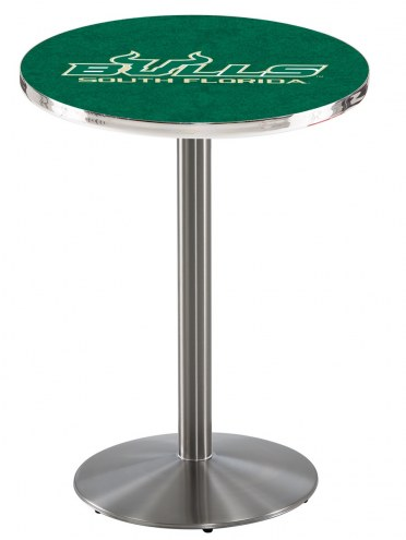 South Florida Bulls Stainless Steel Bar Table with Round Base