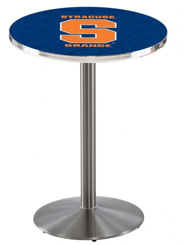 Syracuse Orange Stainless Steel Bar Table with Round Base