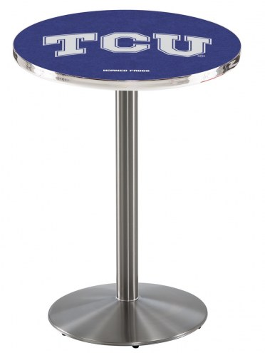 Texas Christian Horned Frogs Stainless Steel Bar Table with Round Base