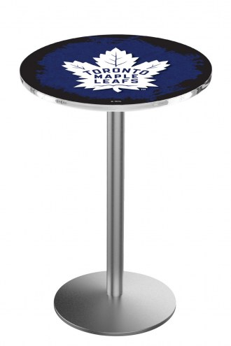 Toronto Maple Leafs Stainless Steel Bar Table with Round Base
