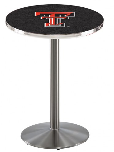Texas Tech Red Raiders Stainless Steel Bar Table with Round Base