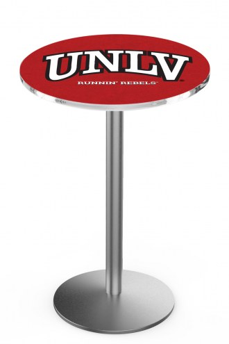 UNLV Rebels Stainless Steel Bar Table with Round Base
