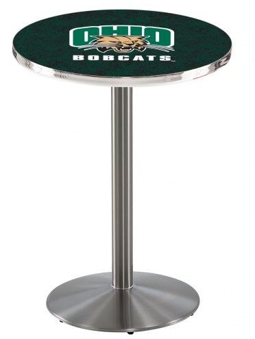 Ohio Bobcats Stainless Steel Bar Table with Round Base