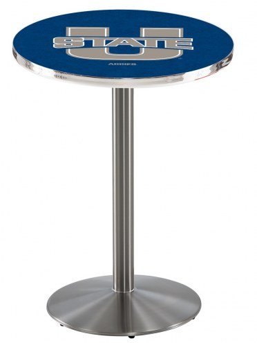 Utah State Aggies Stainless Steel Bar Table with Round Base