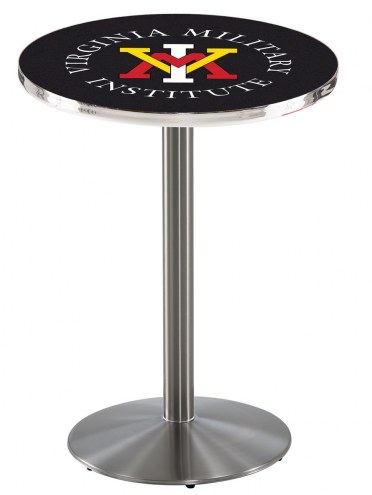 Virginia Military Institute Keydets Stainless Steel Bar Table with Round Base