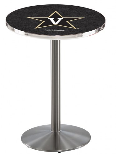 Vanderbilt Commodores Stainless Steel Bar Table with Round Base