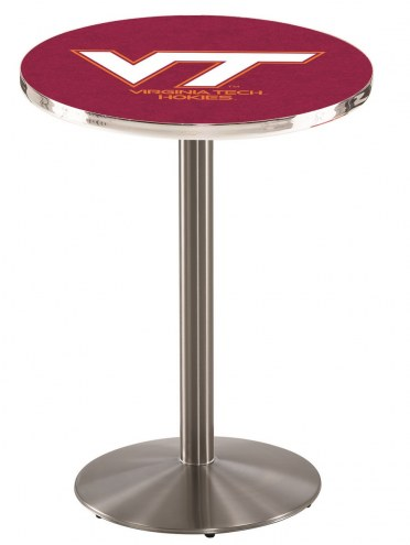 Virginia Tech Hokies Stainless Steel Bar Table with Round Base