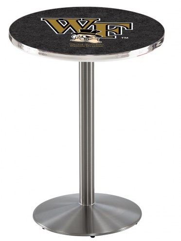 Wake Forest Demon Deacons Stainless Steel Bar Table with Round Base
