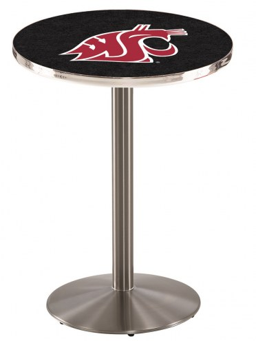 Washington State Cougars Stainless Steel Bar Table with Round Base