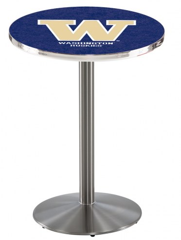 Washington Huskies Stainless Steel Bar Table with Round Base