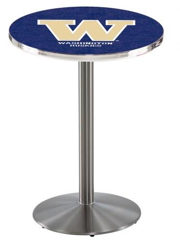 Washington Huskies Stainless Steel Bar Table with Round Base