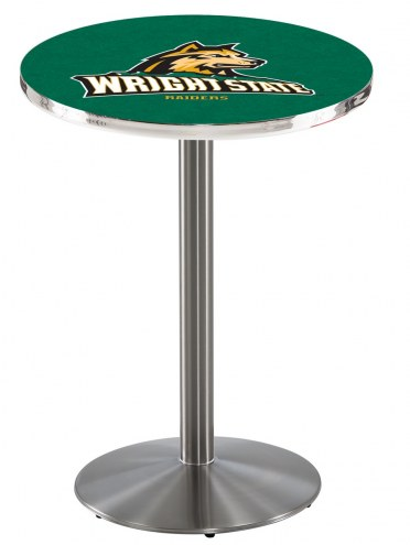 Wright State Raiders Stainless Steel Bar Table with Round Base